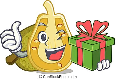 With gift jackfruit mascot cartoon style vector illustration