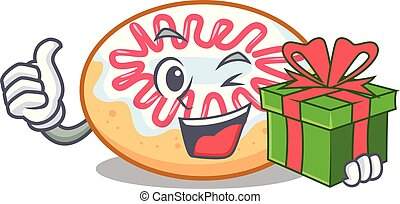With gift jelly donut mascot cartoon vector illustration