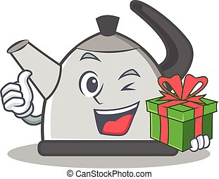 With gift kettle character cartoon style vector illustration