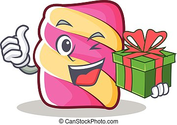 With gift marshmallow character cartoon style
