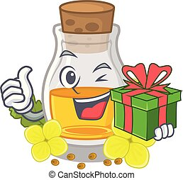 With gift mustard oil wrapped in mascot box