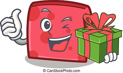 With gift napkin character cartoon style