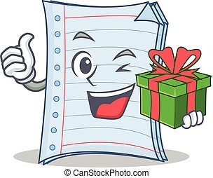 With gift notebook character cartoon design