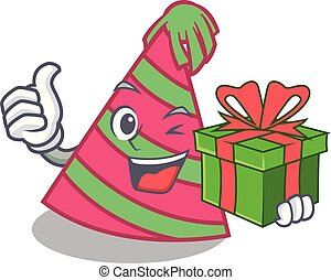 With gift party hat mascot cartoon vector illustration