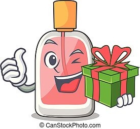 With gift perfume bottle on the character table vector...