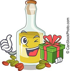 With gift Pistachio oil in a character bottle