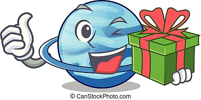 With gift planet uranus in the cartoon form vector...