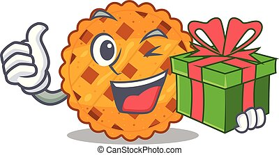 With gift pumpkin pie isolated in the mascot vector ...