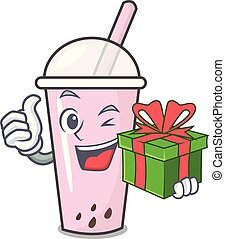 With gift raspberry bubble tea character cartoon