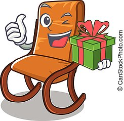 With gift rocking chair in the cartoon shape