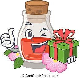 With gift rose seed oil the cartoon shape
