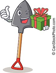 With gift shovel character cartoon style