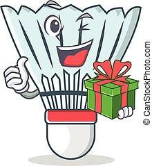 With gift shuttlecock character cartoon vector
