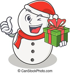With gift snowman character cartoon style