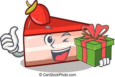 With gift strawberry cake mascot cartoon