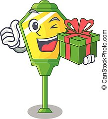 With gift street lamp post in shape cartoon