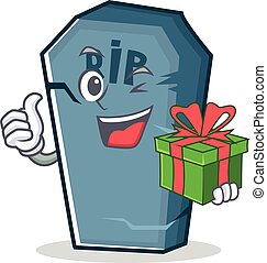 With gift tombstone character cartoon object