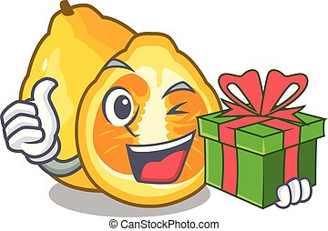 With gift ugli fruit in the cartoon fridge vector...