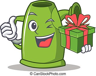 With gift watering can character cartoon