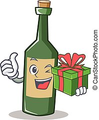 With gift wine bottle character cartoon