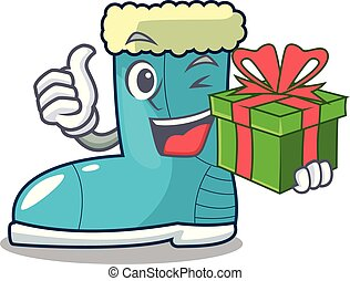 With gift winter boot on the character rak vector ...