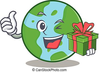 With gift world globe character cartoon