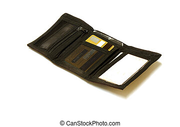 With Gold card - Open wallet with gold card showing, and ...