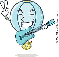 With guitar air balloon character cartoon