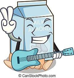 With guitar almond milk in the cartoon bottle