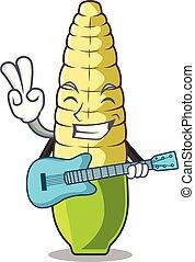 With guitar baby corn cartoon in the fridge