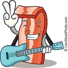 With guitar bacon mascot cartoon style vector illustration