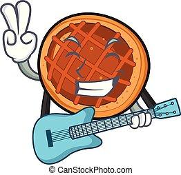 With guitar baket pie mascot cartoon