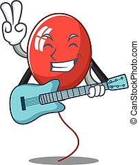 With guitar balloon character cartoon style