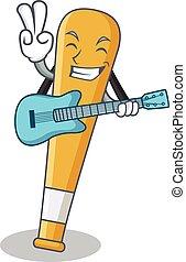 With guitar baseball bat character cartoon