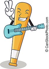 With guitar baseball bat character cartoon