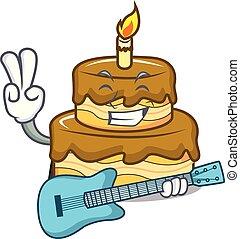 With guitar birthday cake mascot cartoon