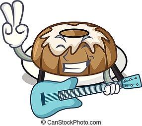 With guitar bundt cake mascot cartoon