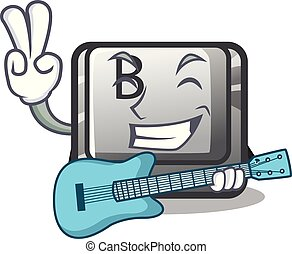 With guitar button B on a mascot keyboard