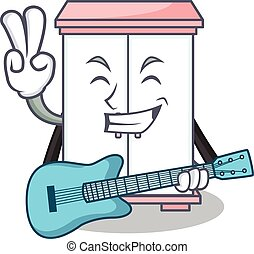 With guitar cabinet character cartoon style