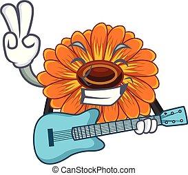 With guitar calendula flower in the mascot stem