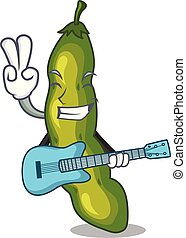 With guitar cartoon fresh green beans for cooking