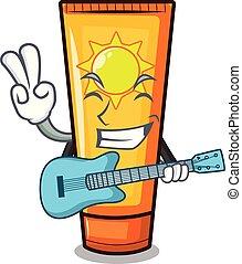 With guitar cartoon sun cream in bag makeup vector...