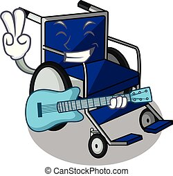 With guitar cartoon wheelchair in a hospital room