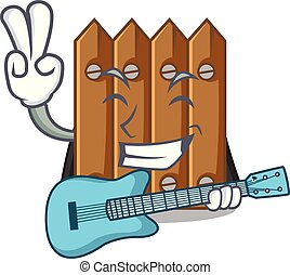 With guitar cartoon wooden fence over the grass