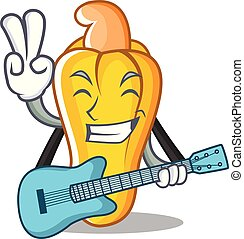 With guitar cashew mascot cartoon style