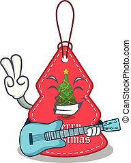 With guitar Christmas tag hanging of character door