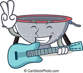 With guitar colander utensil character cartoon vector...