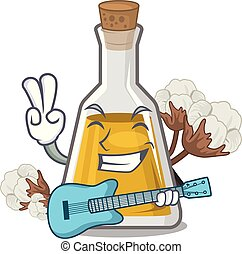 With guitar cottonseed oil in the cartoon shape vector ...