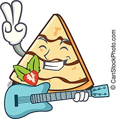 With guitar crepe mascot cartoon style