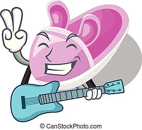 With guitar cute baby shoes in shape cartoon